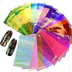 AIUIN 20 Piezas Pegatina de Uñas Colorido Conjunto de Celofán Guías de Clavar Tip Pegatinas Conjunto con Uñas de Manicura
