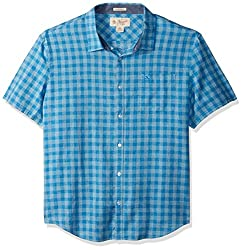 Original Penguin Mens Short Sleeve Gingham End Linen Blend Plaid Shirt, French Blue, Medium