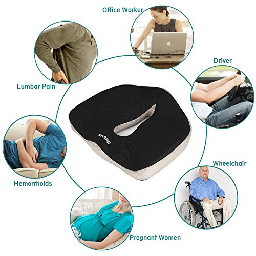 Cojin Coxis de Espuma Memoria Portátil para Hemorroides, Hernias, Cojin Ortopedico para Coxis Alivie la Fatiga y el Dolor Por Office,Coche Negro(Cojin Coxis)