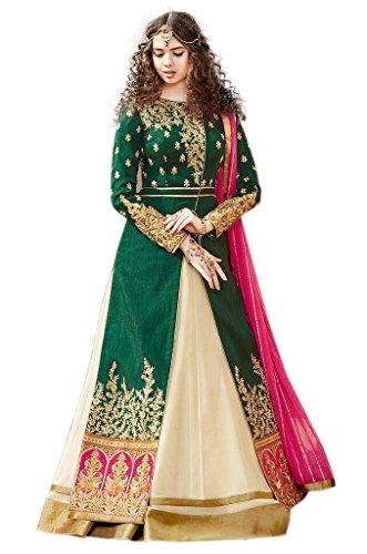 Caffoy Cloth Company Women's Green Color Bangalori Silk Heavy Embroidered Bollywood Designer Anarkali Salwar Suit For Wedding.