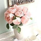 Bouquet de 6 pivoines artificielles en soie pour décoration intérieure ou mariage