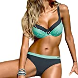 Triangke Damen Sexy Ruched Riemchen Zwei Stücke Bikini Sets Badeanzüge Low Scoop Crop Top Freche Bottom