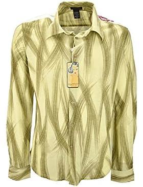 Custo Hombre de la Camisa de color Beige Pinceladas de color Marrón - bordados en los hombros