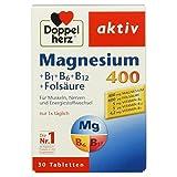Doppelherz Magnesium 400 + B1 + B6 + B12 + Folsäure/Magnesium für die Muskeln, das Nervensystem und den Energiestoffwechsel/1x30 Tabletten