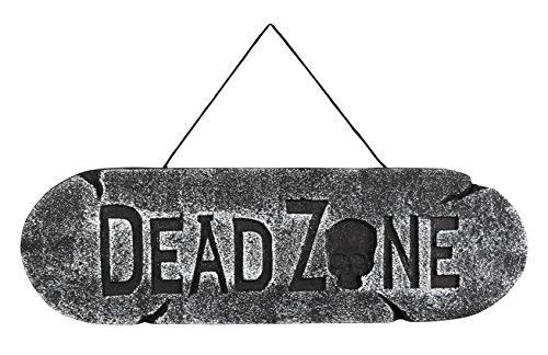 Confettery - Halloween Dekoration Party Schild Schriftzug Dead Zone Monster- Zombies- Tote 1 Stück,15x48cm, (Dead Kostüme Zombie Zone)