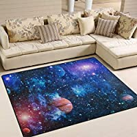 INGBAGS Super Soft Modern Planets Stars And Galaxies In Outer Space Area Rugs Rug 160 x 120 cm Living Room Carpet Bedroom cm for Children Play Solid Home Decorator Floor Rug and Carpets 63 x 48 Inch