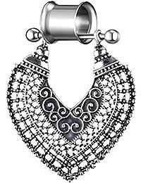 kafiGC8 1 Pieza de dilatador de Oreja para Mujer, diseño de corazón Hueco