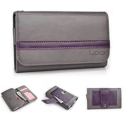 Kroo Universal funda para teléfono tapa tipo cartera para Huawei Honor/Ascend Y330 multicolor Gauntlet Gray and Dark Plum Purple