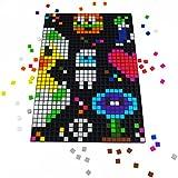 La Manufacture du Pixel - Pixel Art, Loisir Créatif, Mosaïque, Fun ! - Créez à l'infini tout l'art qui vous ressemble - Collection Étain - Kit tapis et 900 pixels à insérer