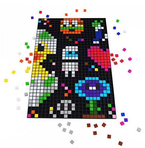 La Manufacture du Pixel – Pixel Handwerkskunst, kreatives Hobby, Mosaik, Spaß! – Erstellen Sie Ihre eigene Kunst – Zink Sammlung – Rahmen und 900 Pixel Set (Schwarz) (Pokemon-master-set)