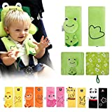 INCHANT Cartoon Animal Soft Harness Seat belt Strap Covers padds UNIVERSAL New Reversible Comfortable,Double Layers (Green Frog)
