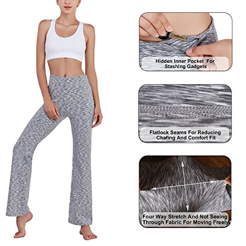 Matymats, pantaloni da yoga, a vita alta e a zampa di elefante, per fitness, allenamento, sport Heather Grey