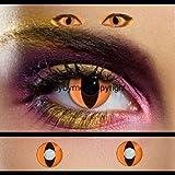 80024 farbige Kontaktlinsen orange katzenauge katze drache schlange manga vampire halloween zombie kostüme fashing