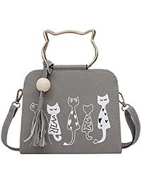 Zibuyu Retro Fashion Women Cartoon Print Tassel Crossbody Bag Shoulder Bag(Gray)