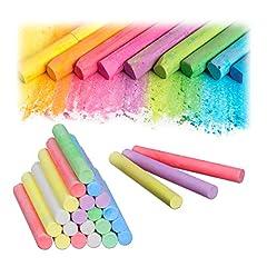 Idea Regalo - Relaxdays- Gessetti Colorati in Set da 24, da Lavagna e da Strada, 6 Colori, per Bambini e Insegnanti, Rotondi, Multicolore, 10024329
