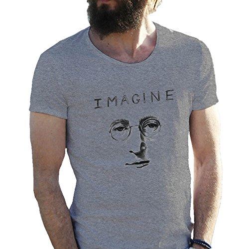 The Beatles Lennon Mcartney Imagine Cool Logo Gris Camiseta para hombre X Large