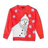 Mädchen Weihnachts Pullover Eisbär Oder Pinguin 3D Bommel Kinder Festive Pullover Top - Schneemann - Korallenrot, 110 - 116