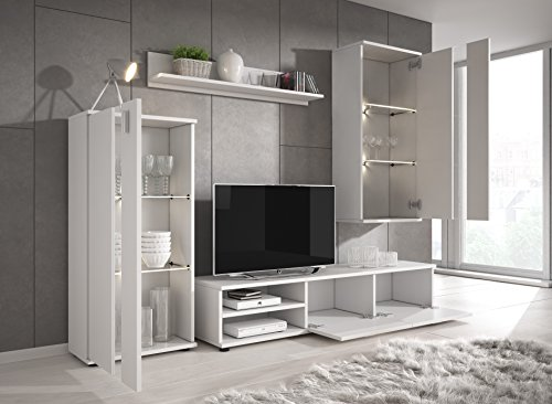 TV-Element TV Schrank Ständer Wohnwand Entertainment Einheit Macy, holz, weiß, Wall unit White Matt - 2