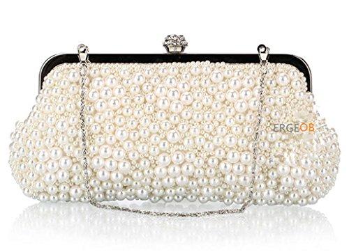 ERGEOB Damen Handgemachte Perlen Handtaschen retro-Paket weiss 01 weiss