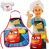 alles-meine.de GmbH Set: Kinderschürze + Kochmütze - Disney Cars - 3 bis 8 Jahre - Größenverstellbar - fleckabweisend - Schürze / Jungen - beschichtet - Kochschürze / Grillschürz..
