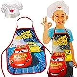 alles-meine.de GmbH 2 * 2 TLG. Set: Kinderschürze + Kochmütze - Disney Cars - 3 bis 8 Jahre - Größenverstellbar - fleckabweisend - Schürze / Jungen - beschichtet - Kochschürze / ..