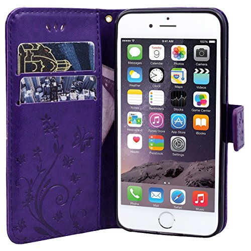 WE LOVE CASE iPhone 6 / 6s Hülle Schutzhülle , iPhone 6 6s Lederhülle Im Retro Style Muster Tasche Handytasche Backcover Stoßfest Protective Bumper Case Cover Brieftasche Kartenfächer Karten Slot Magn Lila