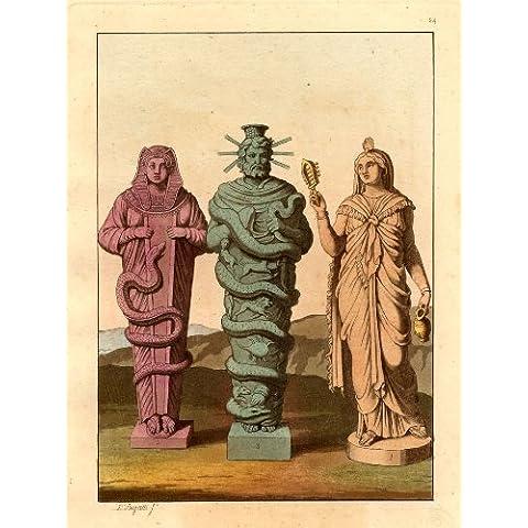 Antiguo ThePrintsCollector cruzerlite-Egipto-estatuas de serpientes-dioses-Ferrario-1827