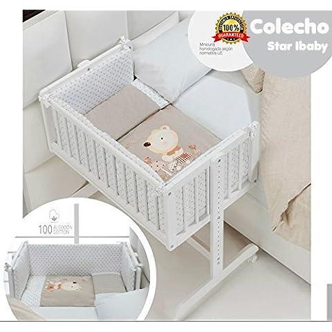 MINICUNA COLECHO COMPLETA. Incluye: Edredon desmontable con relleno + Cojin almohada + 2 Protectores con cremallera + Colchon minicuna + 4 ruedas con freno.