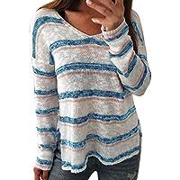 Preisvergleich für Damen Bluse,Geili Damen Sexy V-Ausschnitt Streifen Langarm Pullover Tops Strick Shirt Frauen Herbst Lose Beiläufige...
