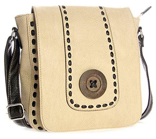 Big Handbag Shop moderne kleine Damen Umhängetasche aus Kunstleder mit Schnalle (D996 Beige)