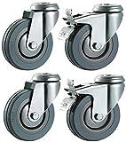 Ruedecillas de goma dura con frenos, 125 mm, sin marcas, color gris, montaje en placa superior, ruedas de alta resistencia, máximo 400 kg por juego, d