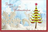 metalum Premium-Weihnachtskarte mit festlichem Motiv und ausgefallener, sehr filigraner, 2-dimensionaler Papierverzierung in Form eines modernen Weihnachtsbaumes