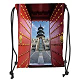 Drawstring Backpacks Bags,Ancient China Decorations,Doorway to Asian Religious Monument Temple of Heaven in Beijing Decorative,Multicolor Soft Satin,5 Liter Capacity,Adjustable STR