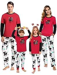 Aibrou Pigiami Natale per Famiglia, Pigiama Famiglia Natale Set Manica Lunga e Pantaloni, Pigiama Natalizio Famiglia Pigiami Famiglia Coordinati per Bambino papà Mamma