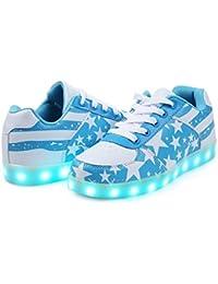LJ Sport LED Schuhe Jungen Mädchen Herren Damen Sterne Leuchten Schuhe USB Lade Leucht Schuhe Schnürschuhe (EU 36, Schwarz)