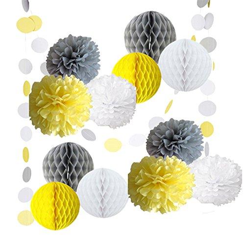 14Gelb Grau Weiß Deko Party Papier Pack Zeitgemäß Blume Honeycomb Ball Kreis Papier Girlande Baby Dusche Hochzeit Geburtstag Decoratio für (Gelber Kreis Papier)