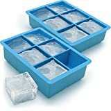igadgitz Home U6795-KIT Stampo Silicone 6 Extra Grande cubetti di Ghiaccio, Blu