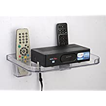 Gadget-Wagon Wall Mountable Hangable for Set-top Box/Apple TV and 2 Remotes(White and Clear)
