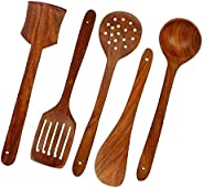 MAXABLE Wooden Serving and Cooking Spoon Set, Sheesham Wood Spoon Kitchen Tools Utensil, Non Stick