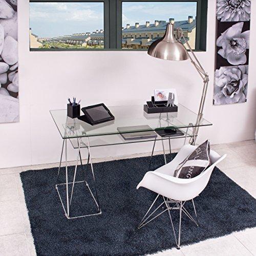 Homely - Mesa Escritorio Peaks Tapa de Cristal y Patas de Metal 130x65 cm