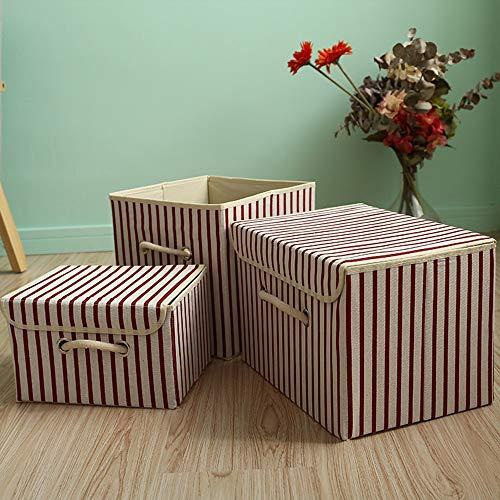 KIEDIF Aufbewahrungsbox Bettwäsche Aufbewahrungsbox Baumwolle Leinen Kleidung Pyjamas Decken Organisator Kind Spielzeug, Rote Streifen38X25X25 -