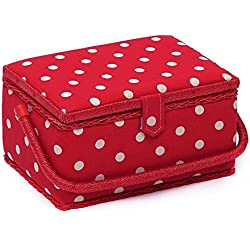 Hobby Gift Caja de costura rectangular con lunares rojos
