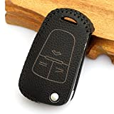 Leather Key Cover Fob Case For Opel Vauxhall / Astra H / Corsa D / Vectra C / Zafira (Black)