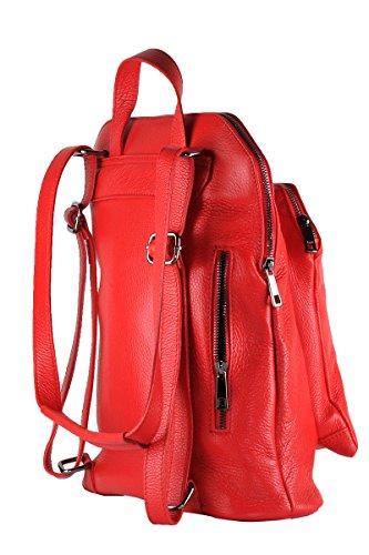 Borderline - 100% Made In Italy - Zaino Donna In Vera Pelle - Diamante Rosso