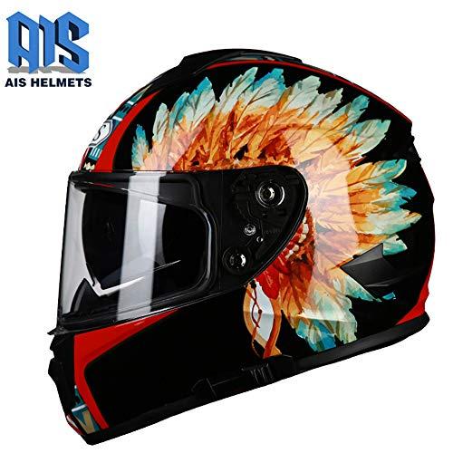 CAJUXI Indische Feder Persönlichkeit cool Motorradhelm,Erwachsener doppelter Linsen-voller umfasster Lokomotivmotorrad-Integralhelm,Four Seasons Universal DOT/ECE-zertifizierter Helm,XL:59~61cm