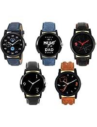 Krupa Enterprise Analogue Multicolour Dial Leather Strap Men's Watch (24678) -Combo of 5