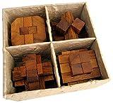 4 Knobelspiele im Set - Spielesammlung 3D Puzzle - Denkspiele - Knobelspiele - Geduldspiele - Logikspiele in einer dekorativen Geschenkbox