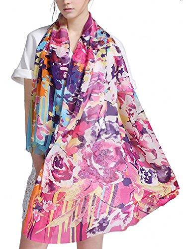 Prettystern xxl 180/110 cm leggera sciarpa di 100% seta pareo primavera estate fiori stripe pittura ispirata giardino estivo y03