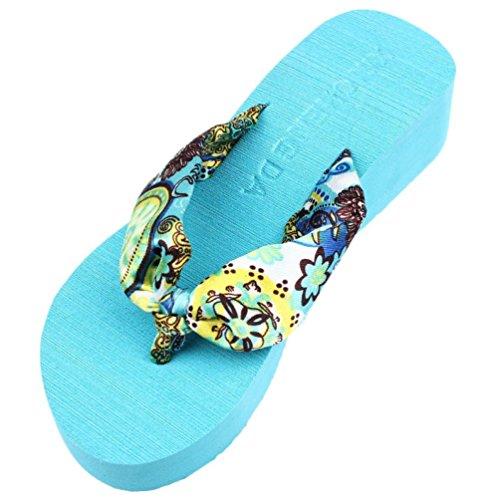 Uomogo® sandali pantofole da donna pantofola da donna estiva moda pantofola traspirante leggera e morbida infradito da spiaggia con zeppa a tacco alto con zeppa (asia 39, blu)