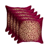 MSenterprises Set of 5 Maroon Gold-Print Velvet Cushion Covers 60X60 cm (24 X 24)